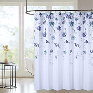 Haperlare Duschvorhang, wasserabweisend, Wasserfarben, Blumenmuster, Blätter-Design, schweres Segeltuch, für Badezimmer, waschbar, 183 x 183 cm, Marineblau