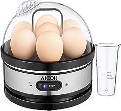 Egg Cooker, Aicok 7 Egg Capacity Egg Boiler, Soft Hard Boiled Egg Maker Included Steamer Poacher Removable Tray Rapid Egg Steamer Auto Shut Off Feature