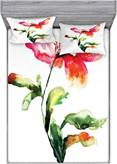Ambesonne Watercolor Flower Fitted Sheet & Pillow Sham Set, Shaded Single Poppy Flowering Plant Muse Nature Earth Divine Grace, Decorative and Printed 3 Piece Bedding Set, Queen, Red Green White