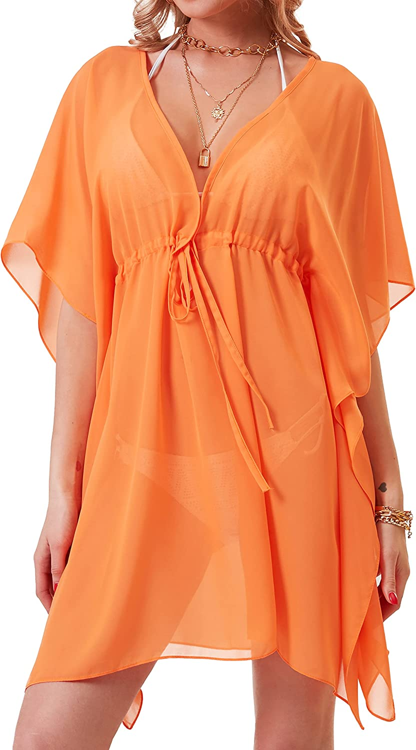 Soul Young Cover Ups for Swimwear Women V Neck Beach Chiffon Swimsuit Coverup Oversized