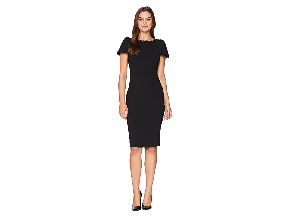 Calvin Klein Short Sleeve Dress with Lace Trim Detail CD8C17PF (Black) Women