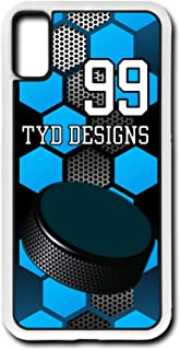 iPhone Xs Hockey Case Fits iPhone Xs or iPhone X Custom Made Design Cell Phone Case with Any Jersey Number Team Name in White Rubber H1031 by TYD Designs