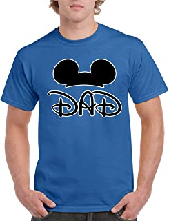 Father's Day Popular Mickey Dad Ears Minnie Parents Men's T-Shirts Crew Neck Tee Shirts