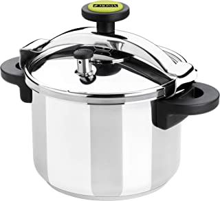 Monix Classica - Olla a presión tradicional de 6 litros, acero inoxidable, 22 cm, color gris