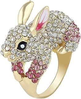 Cute Gold-Tone Rabbit Ring Austrian Crystal Pink