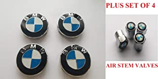 USA SELLER (Set of 4) BMW Wheel Center Caps Hub Caps 68mm Standard Fit For all Models With Stock BMW Wheels Blue & White Color
