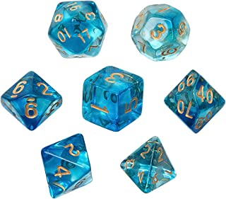 Polyhedral Dice, Nebula and Transparent Blue DND Dice Set-7Pieces for RPG MTG Table Games Dice with Velvet Dice Bag