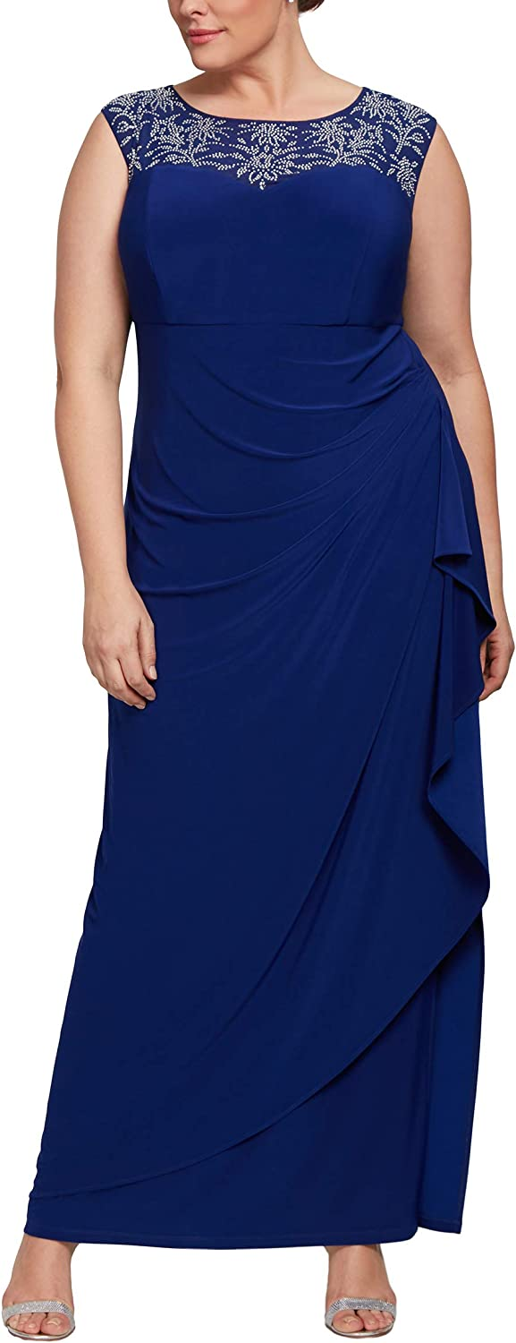 Alex Evenings Womens Plus Size Embroidered Long Dress Special Occasion Dress