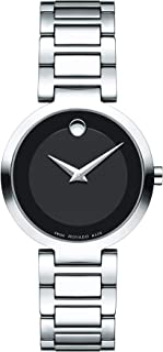 Women's Modern Classic Stainless Steel Watch with Museum Dial, Black/Silver/Grey (607101)