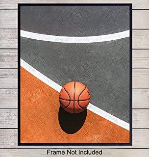Basketball on Court Art Print Photo - Contemporary Wall Art Poster - Unique Home Decor for Kids, Teens Room, Game Room, Man Cave, Den - Gift for Men, Boys, Hoops and Sports Fans - 8x10 Photo Unframed