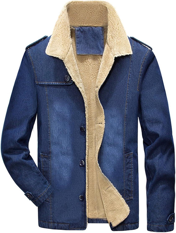 767c6894b LifeHe Men Winter Denim Jacket Slim Slim Slim Fit with Fur 623096 ...