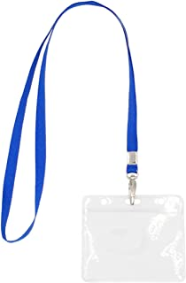5 Pack Lanyard with Clear Plastic Horizontal ID Badge Holder, Name Tag Holder with Lanyard Set