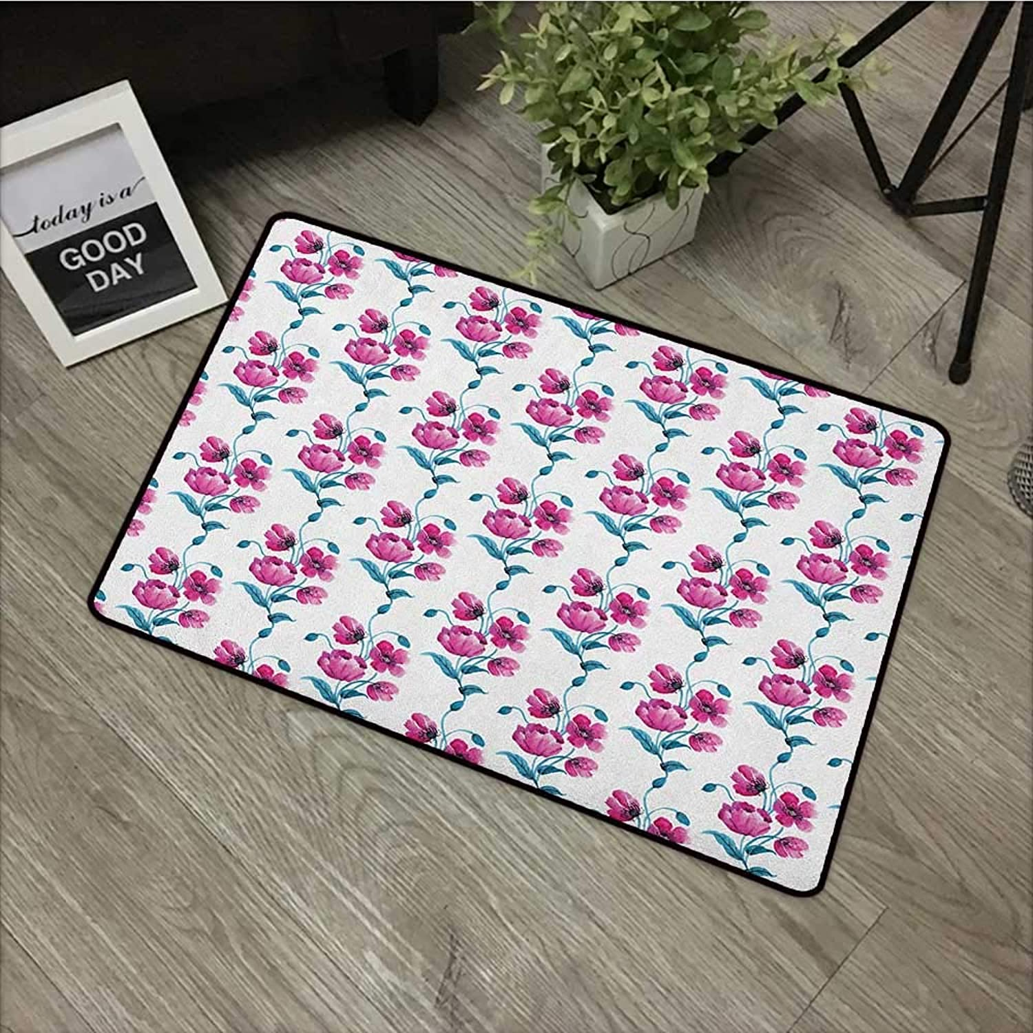 Bathroom Anti-Slip Door mat W35 x L59 INCH Flower,Poppies Ornamental Vintage Style Design Leaves Buds Botany Artwork, Fuchsia and Petrol bluee Easy to Clean, Easy to fold,Non-Slip Door Mat Carpet