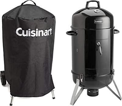 La Rosticceria Cuisinart Vertical Charcoal Smoker with Stainless Steel Cooking Racks and Porcelain-enameled Water Bowl, 18-Inch Bundle with Universal Nylon Fabric Kettle Cover with Velcro Straps
