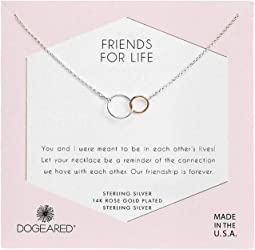 Friends For Life, Two Mixed Metal Linked Rings Necklace