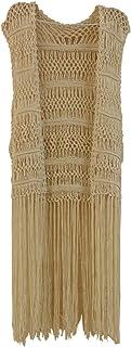 Long Fringe Crochet Vest Bohemian Hippie Cover Up Women Boho Clothes