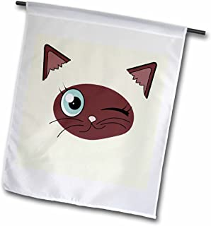 3dRose fl_165780_1 Cute Winking Cat Siamese Markings Garden Flag, 12 by 18-Inch
