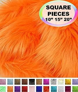 Barcelonetta   Faux Fur Squares   Shaggy Fur Fabric Cuts, Patches   Craft, Costume, Camera Floor & Decoration (Orange, 10
