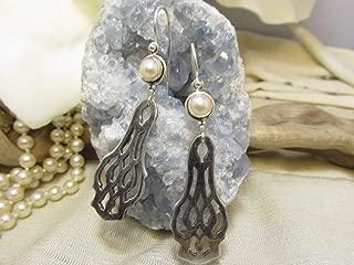 Lunt Chippendale Pattern Silverware Earrings, Pearl Topped Spoon Jewelry Earrings (Item ET-0164-A)