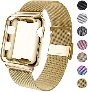 GBPOOT Compatible for Apple Watch Band 38mm 40mm 42mm 44mm with Screen Protector Case, Sports Wristband Strap Replacement Band with Protective Case for Iwatch Series 4/3/2/1,44mm,Yellow Gold