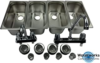 Standard 4 Compartment Sink Set & Hand Washing for Concession Stand Food Trailer