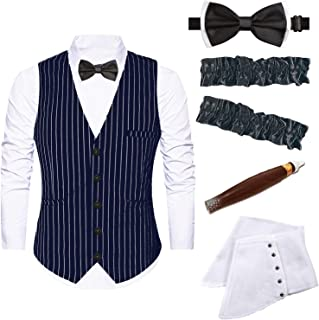 Mens 1920s Accessories Gangster Stripe Vest Set - Gangster Spats,Armbands,Pre Tied Bow Tie,Toy Fake Cigar