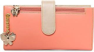 Butterflies Dark Peach & Beige PU Women's Wallet (BNS 2459DPCH)