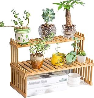 YYFANG Étagère de Bureau à 2 Niveaux Bambou Naturel de Table, Support de Plante d'intérieur d'étagère Verticale de Plante,...