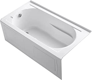 Kohler K-1357-GLAW-0 Devonshire Three-Wall Alcove Bath Tub with Integral Apron, Left-Hand Drain and Bask Heated Surface, 60-Inch X 32-Inch, White