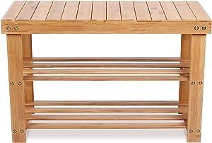 Homfa Scarpiera di bambù Porta Scarpe Scaffale Sgabello di Legno Naturale, Panca in Legno 70 x 28 x 45 cm (Tipo 1)