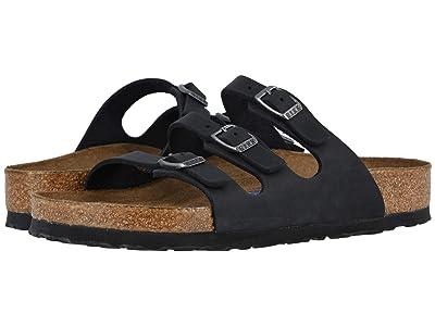 Birkenstock Florida Soft Footbed Leather (Black Oiled Leather) Women
