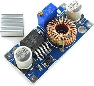 HJ Garden 5A 75W DC-DC Buck Converter 5-32V to 0.8-30V/12V/9V/5V/3V Voltage Regulator Board Adjustable Large Power Step-Down Power Supply Module with Heat Sink XL4005