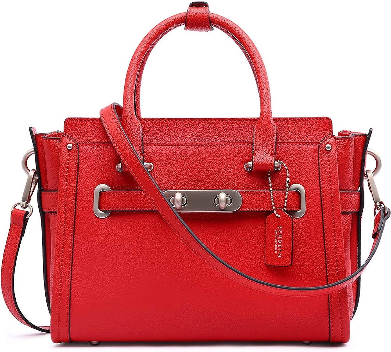 Sendefn Womens Satchel Leather Top Handle Crossbody Shoulder Handbag Sling Bag
