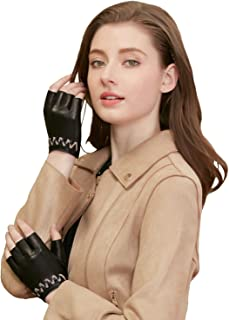 GSG Xmas Gift Sexy Gloves Womens Fingerless Motorcycle Gloves Driving Half Finger Leather Gloves Cycling