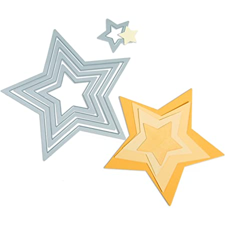Sizzix 18657567 Big Shot Étoiles Framelits Set de 5 Matrices de Découpe pour Machine Plastique Multicolore 11.11 cm x 10.48 cm - 1.91 cm x 1.91 cm