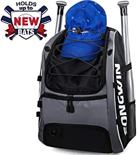 Songwin Baseball Bag,Equipment Backpack for Sport,Gear for Kids,Youth,and Adults,Softball Bag with Fence Hook and Shoe Compartment Holds T-Ball,Bat,Batting Glove,Helmet,Caps