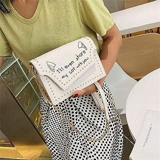 ZZZ Small Square Bag Small Fresh Contrast Color Letters Shoulder Fashion Rivets Messenger Graffiti Handbags Wild fashion (Color : White)
