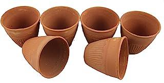 odishabazaar Baked Clay Kullad Traditional Indian Chai Tea Cup/Lassi Set of 6 (Small)