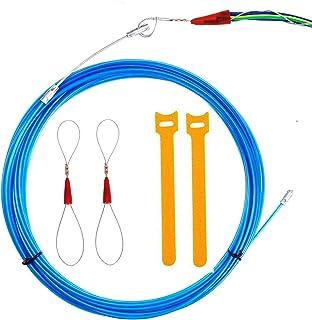 RUNCCI-YUN 10m Guia Pasacables, Kit de Enhebrado de Cables, Electricistas Alambre Threading Dispositivo, Enhebrador de Alambre Electrico - Cable de Eléctrico con Conectores de Cable de Acero,Azul