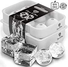 Piper and Olive Whiskey Ice Cube Trays - Ice Ball Maker Mold with Lid - Combo - Molds Six Large Ice Cubes and Ice Balls For Whiskey, Bourbon, and Cocktails - Set of 2