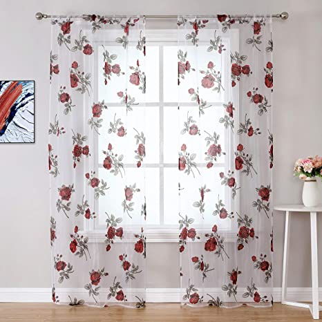 Amazon Com Wubodti Red Floral Sheer Curtains For Girls Bedroom Set Of 2 Panels Voile Sheer Curtain Drapes In Rose Flower Design Rod Pocket For Living Room Door Patio Widow Treatment Transparent 39 X79 Home