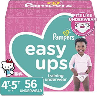 Pampers Easy Ups Pull On Disposable Potty Training Underwear for Girls, Size 6 (4T-5T), 56 Count, Jumbo Pack