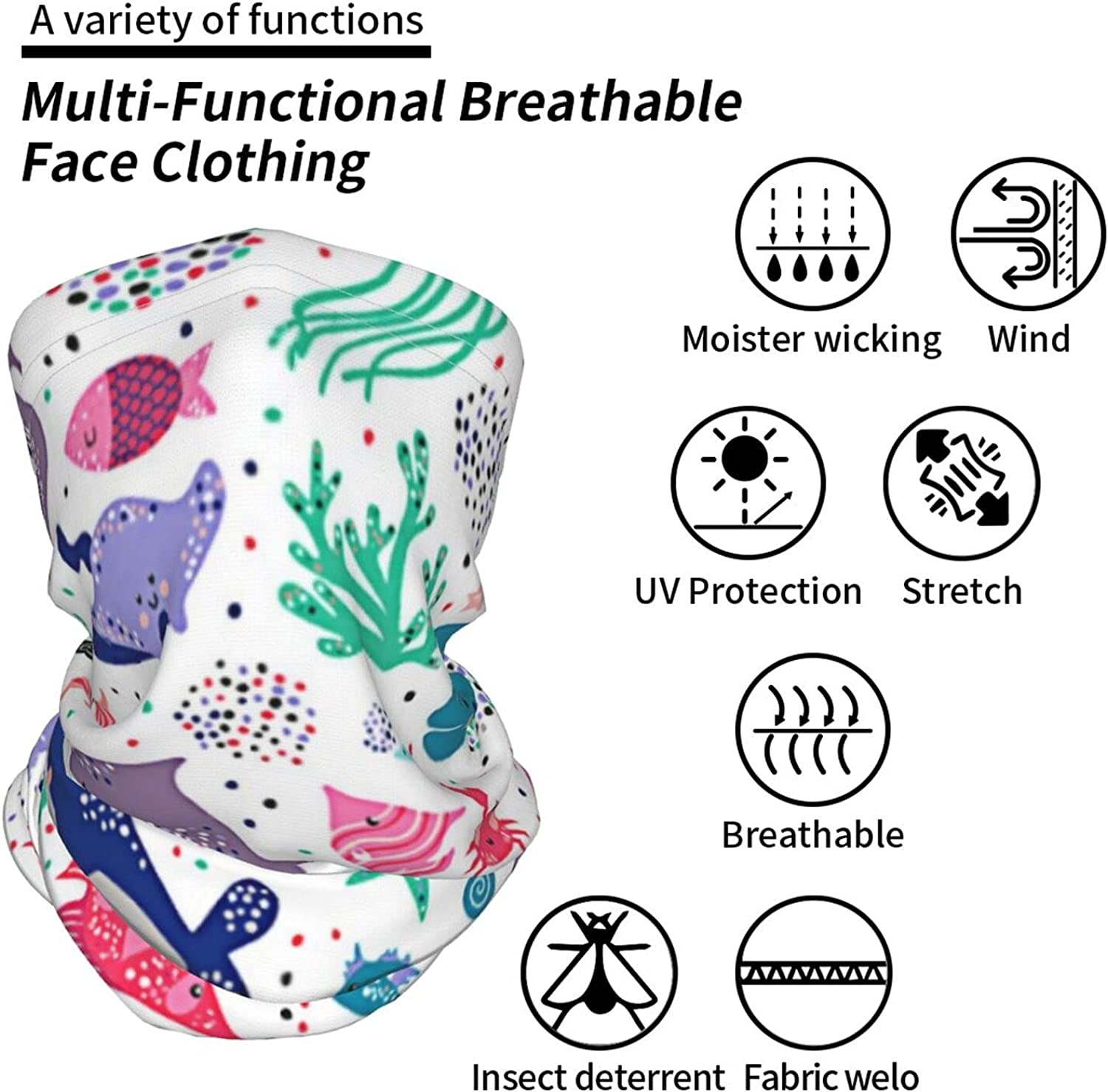 Sea Life Water Cute Neck Gaiter Multipurpose Headwear Ice Silk Mask Scarf Summer Cool Breathable Outdoor Sport 2 Pcs
