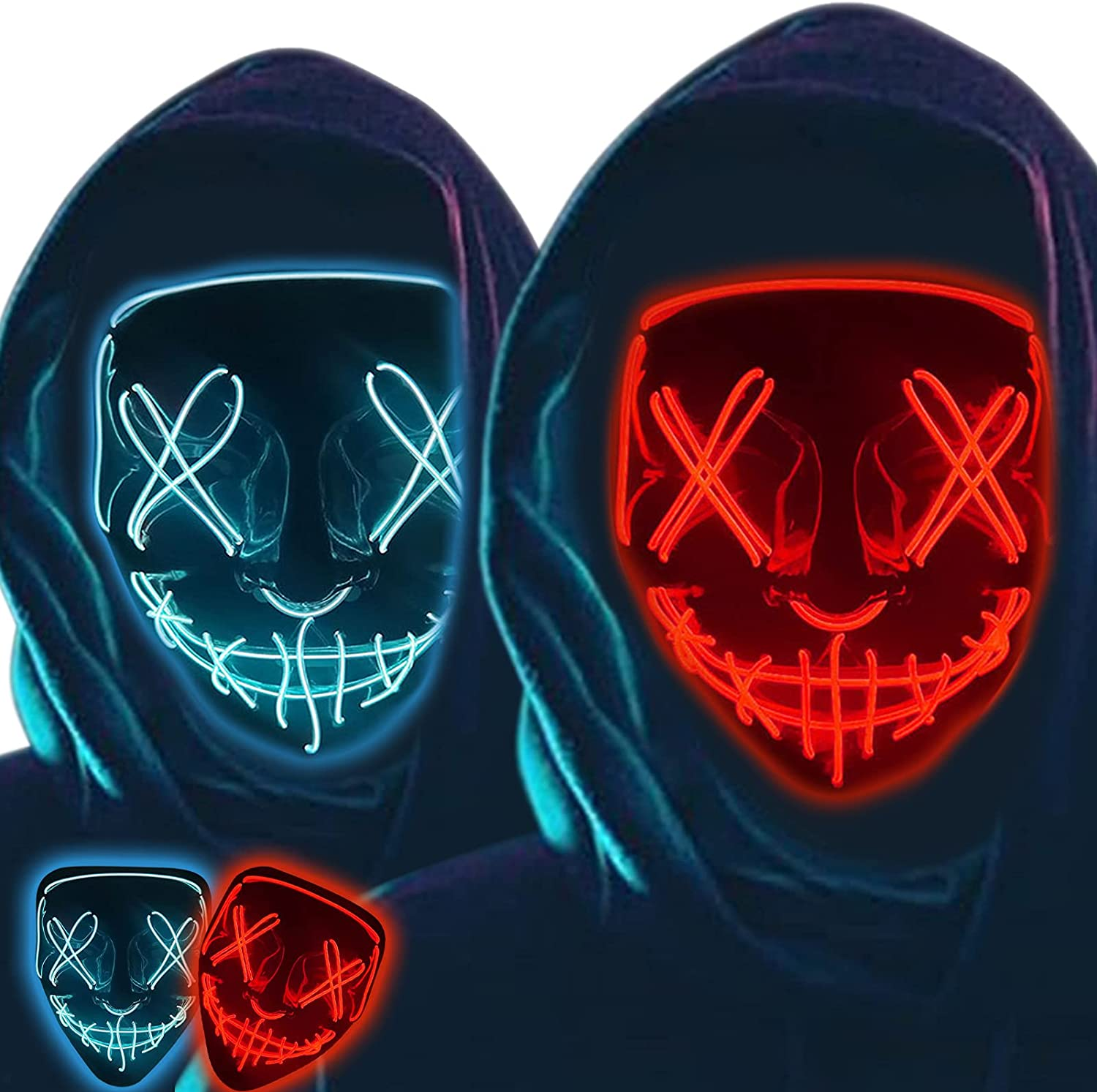 2Pack Halloween Light Up New Tucson Mall popularity Mask for Costume Hallowee Scary Cosplay