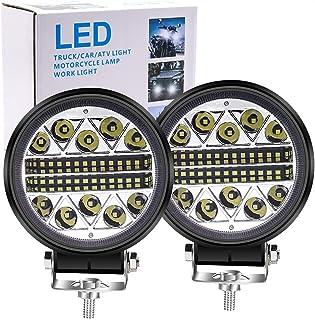 Biqing 2 szt. 102 W LED reflektor roboczy offroad, 4,5 cala LED pręt świetlny okrągły pods światła punktowe reflektory kom...