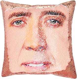"""URSKYTOUS Reversible Nicolas Cage Sequin Pillow Case Decorative Mermaid Pillow Cover Color Changing Cushion Throw Pillowcase 16"""" x 16"""",Nicolas and Champagne Gold"""