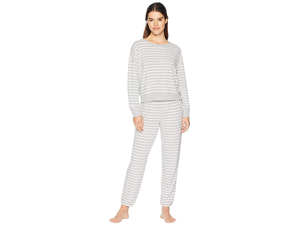 Splendid Brushed Jersey Long Sleeve PJ Set (Weekend Stripe) Women