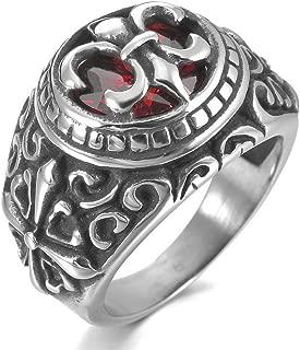 Men's Stainless Steel Ring CZ Silver Tone Black Red Celtic Medieval Cross Knight Fleur De Lis Oval Signet