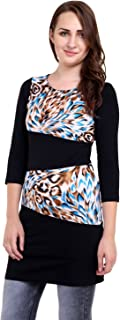 Espresso Women's Printed 3/4th Sleeve Dress with Contrast Panels.