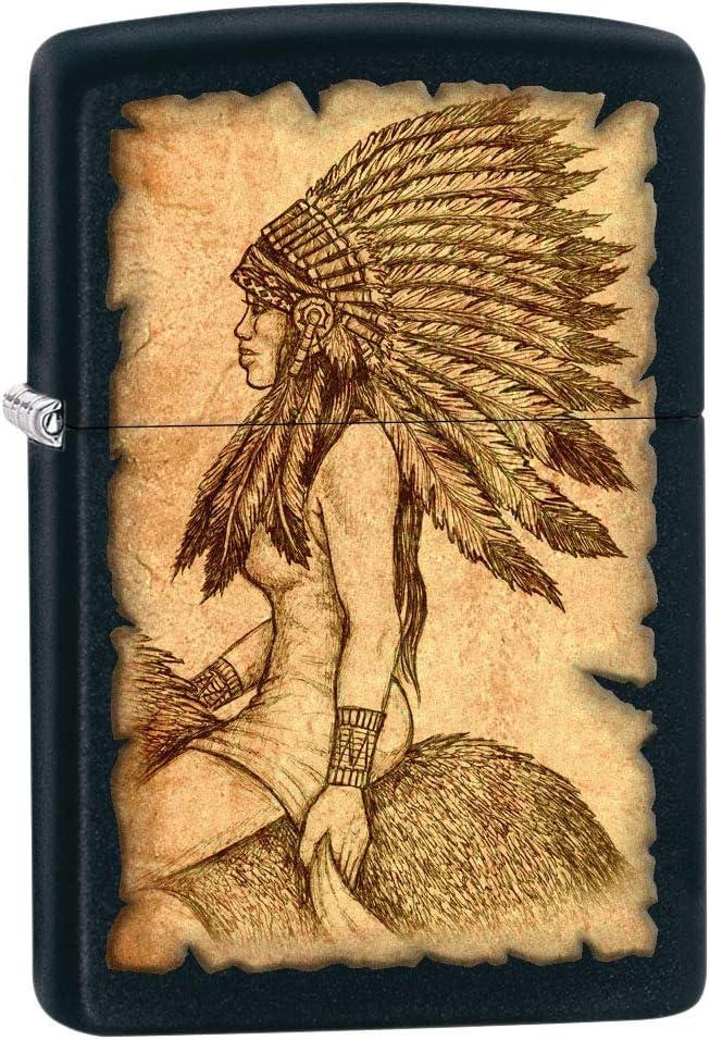 Zippo Lighter: Native American on 授与 80729 - Matte 低価格 Black Horseback